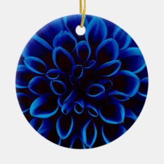Blue Dahlia Ceramic Ornament