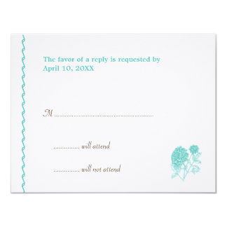 "Blue dahlia wedding enclosure RSVP response card 4.25"" X 5.5"" Invitation Card"