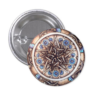 Blue Daisies Pentacle Button Pin