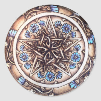 Blue Daisies Pentacle Classic Round Sticker
