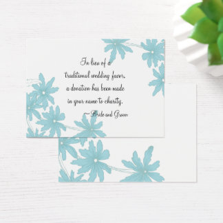 Blue Daisies Wedding Charity Favor Card