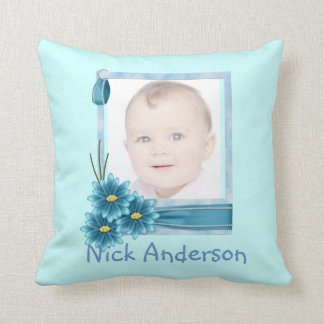 Blue Daisy Baby Boy Photo Personalized Pillow