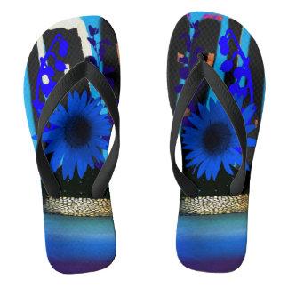 Blue Daisy City Flip Flops 2