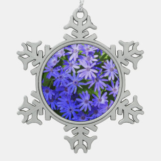 Blue Daisy-like Flowers Nature Photography Snowflake Pewter Christmas Ornament