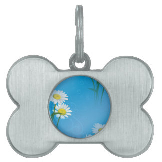 blue daisy pet name tag