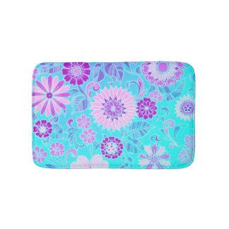 Blue Daisy Retro Print Bathroom Mat