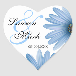 Blue Daisy Save the Date Heart Sticker