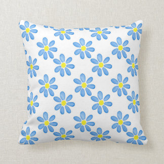 Blue Daisy Watercolor Pattern 2 Throw Pillow
