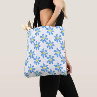 Blue Daisy Watercolor Pattern 2 Tote Bag