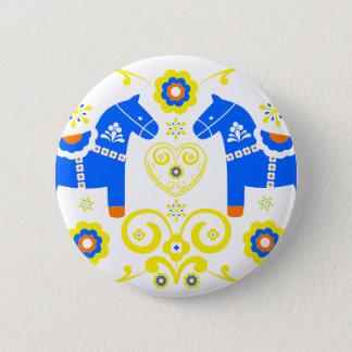 Blue Dala Horses 2 Inch Round Button