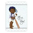 Blue Damask African American Baby Boy Shower Card