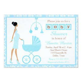 Blue Damask African American Girl Baby Shower Card