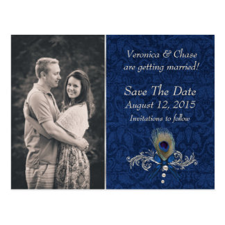 Blue Damask and Peacock Feather Save The Date Postcard