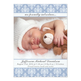 Blue Damask Baby Boy Birth Announcements