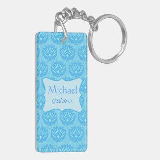 Blue Damask Baby Boy Name Personalized Double-Sided Rectangular Acrylic Keychain