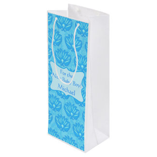 Blue Damask Baby Boy Name Personalized Wine Gift Bag
