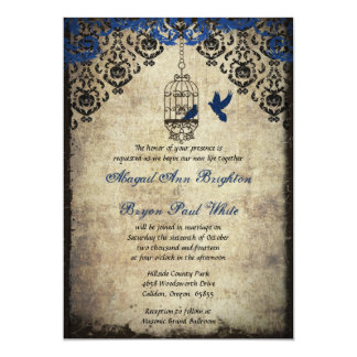 Blue Damask Birdcage Vintage Wedding Invitation