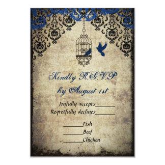 Blue Damask Birdcage Vintage Wedding RSVP Card