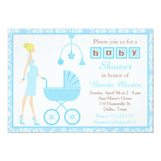 Blue Damask Blonde Expecting Boy Baby Shower Card