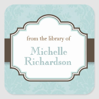 Blue damask bookplates square sticker