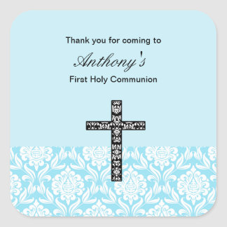 Blue Damask Boys Communion sticker