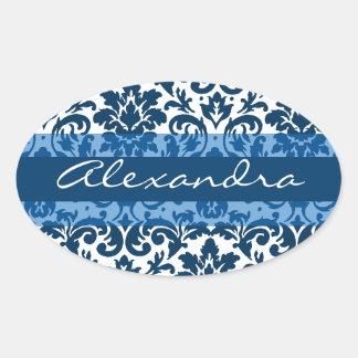 Blue damask calligraphy customizable art oval sticker