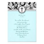 Blue Damask Christian Wedding Invitation
