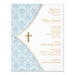 "Blue Damask Cross Boy Baptism Christening 4.25"" X 5.5"" Invitation Card"