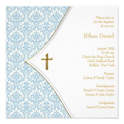 Blue Damask Cross Boy Christening