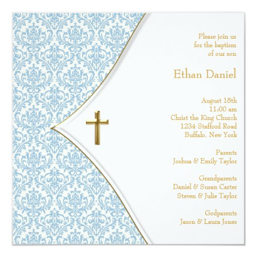 "Blue Damask Cross Boy Christening 5.25"" Square Invitation Card"