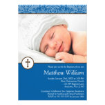 Blue Damask Cross Boy Photo Baptism Christening Personalized Announcements