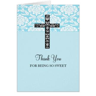 Blue Damask Cross Boys Thank You Card