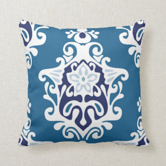 Blue Damask Decorative Pillow