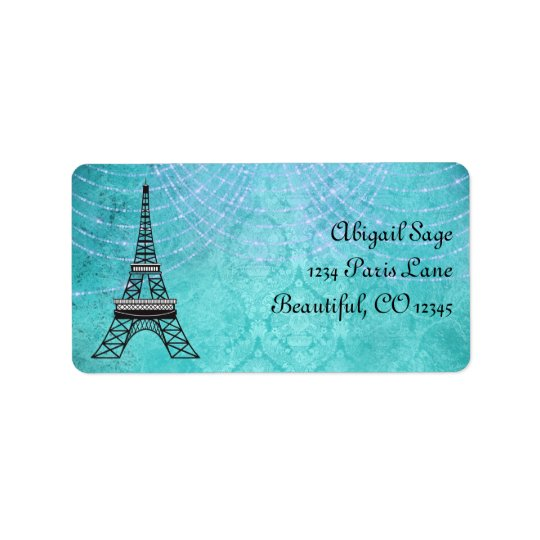 Blue Damask Eiffel Tower and String Lights Label