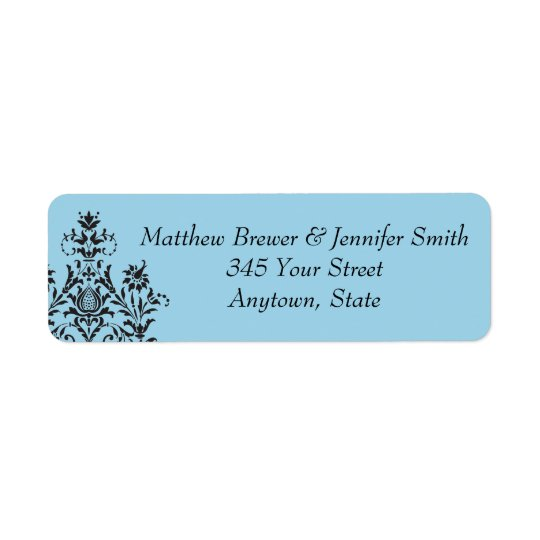 Blue Damask Envelope Address Labels
