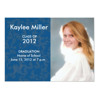 "Blue Damask Formal 2012 Graduation Picture 5"" X 7"" Invitation Card"