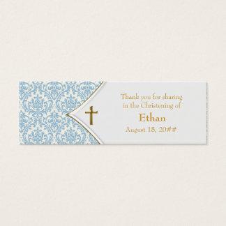 Blue Damask Gold Cross Bomboniere Tags Mini Business Card