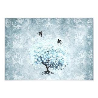 Blue Damask Heart Leaf Tree Vintage Bird RSVP Card