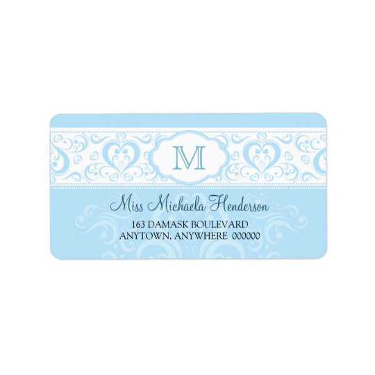 Blue Damask Monogram Address Label