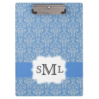 Blue Damask Monogram Custom Clipboard