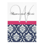 Blue Damask Monogram Names Wedding Invitation