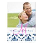 Blue Damask Monogram Photo Wedding Invitations