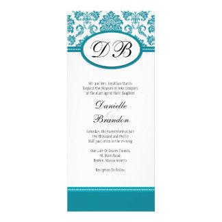 Blue Damask Monogram Wedding Invitation
