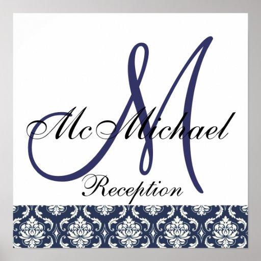 Blue Damask  Monogram Wedding Reception Sign Posters