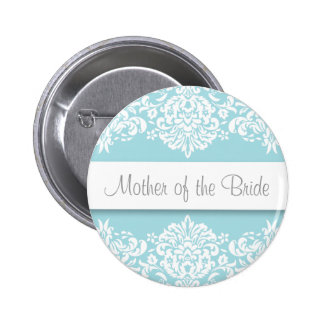 Blue Damask Mother of the Bride Button