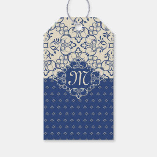 Blue damask on cream Monogram Wedding Gift Tag