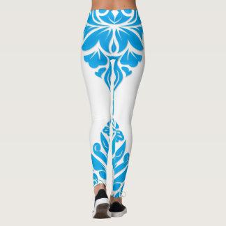 Blue Damask On White Or Any Color Leggings