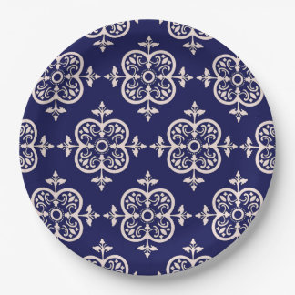 Blue Damask Paper Plate