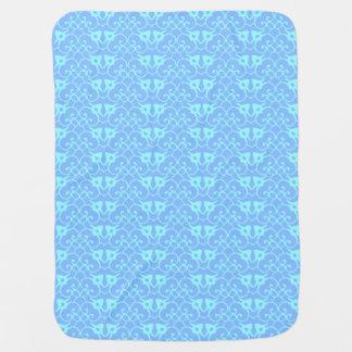 Blue Damask Pattern Boys Stroller Blanket