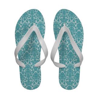 Blue damask pattern elegant beach wedding flip flops